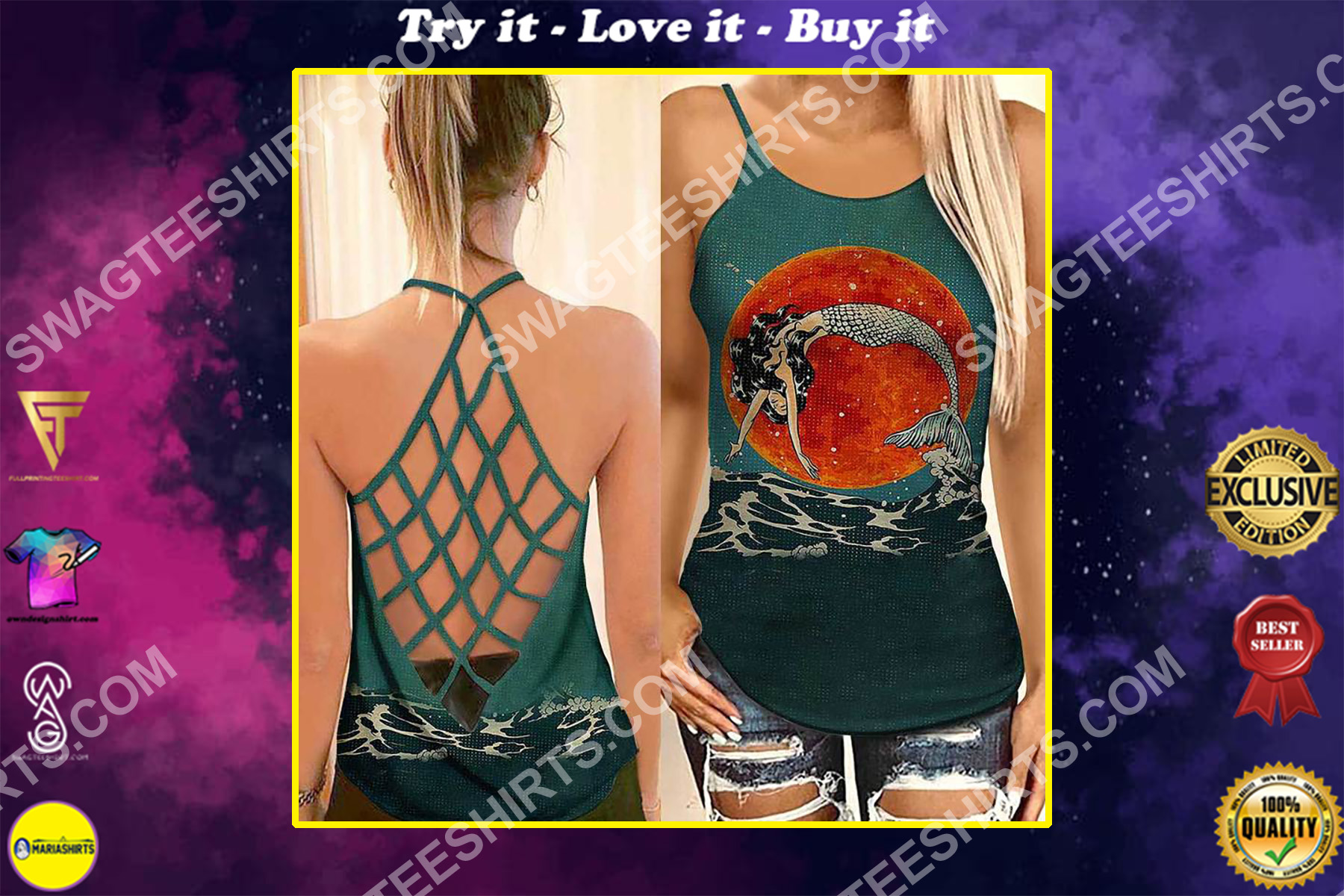 the mermaid vintage all over printed strappy back tank top