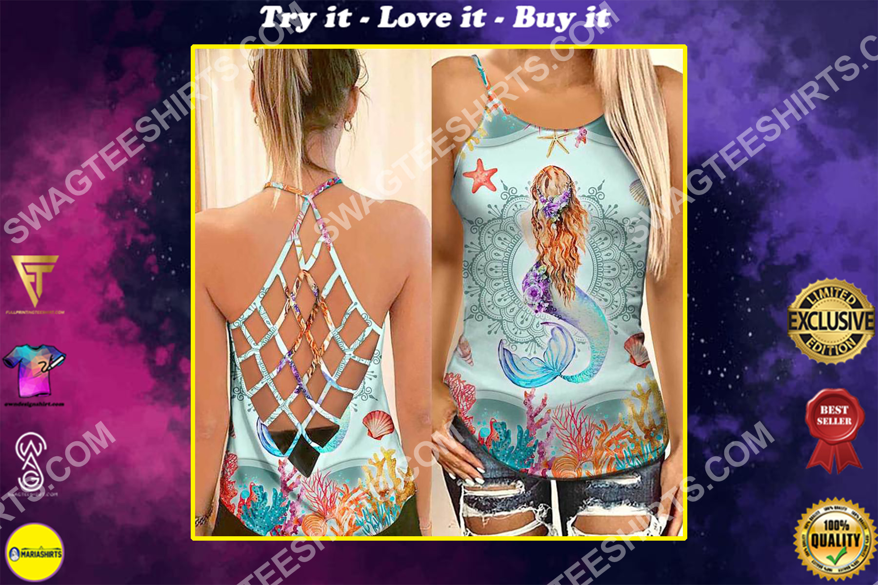 the mermaid with ocean all over printed strappy back tank top