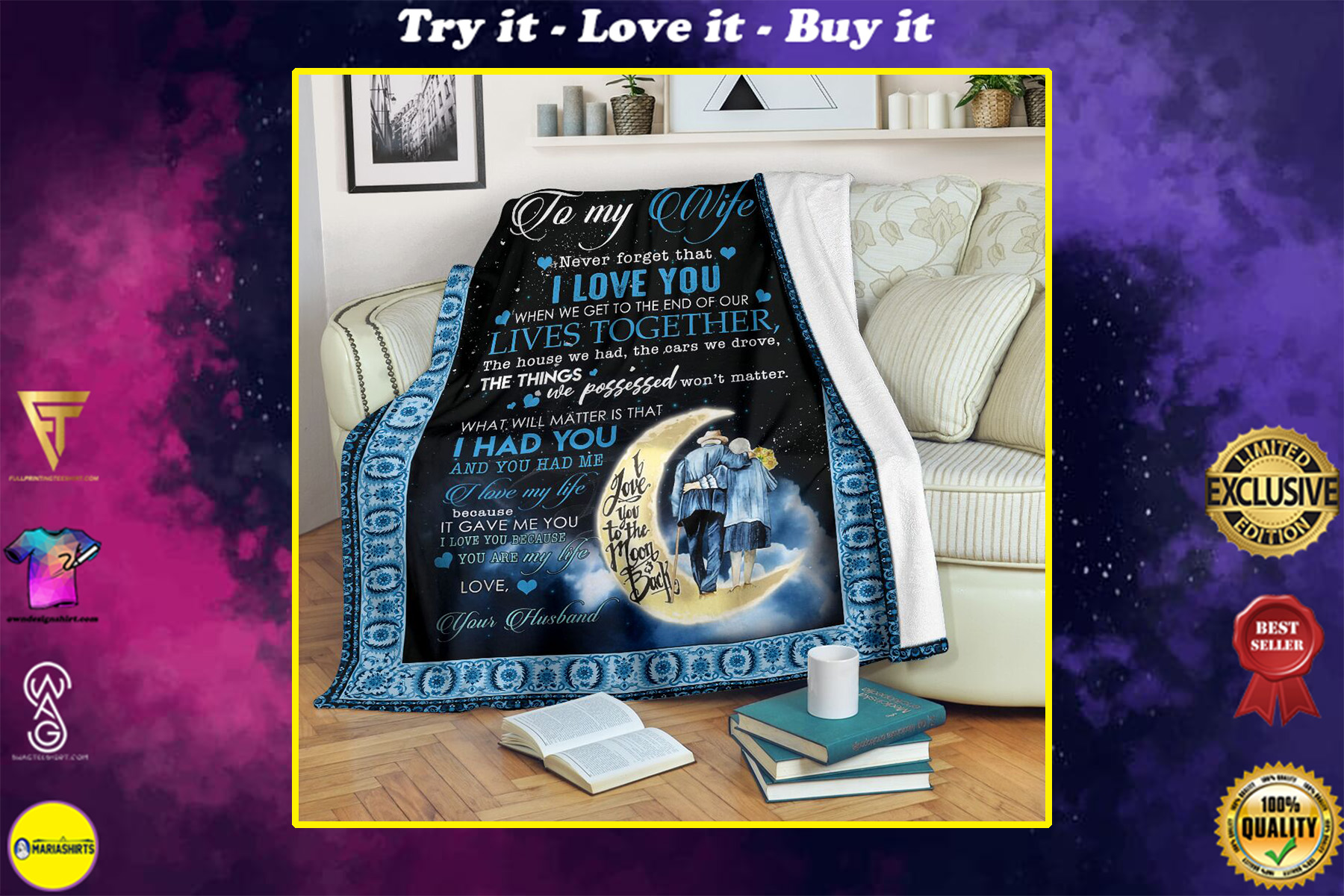 the moon to my wife never forget that i love you your husband full printing blanket