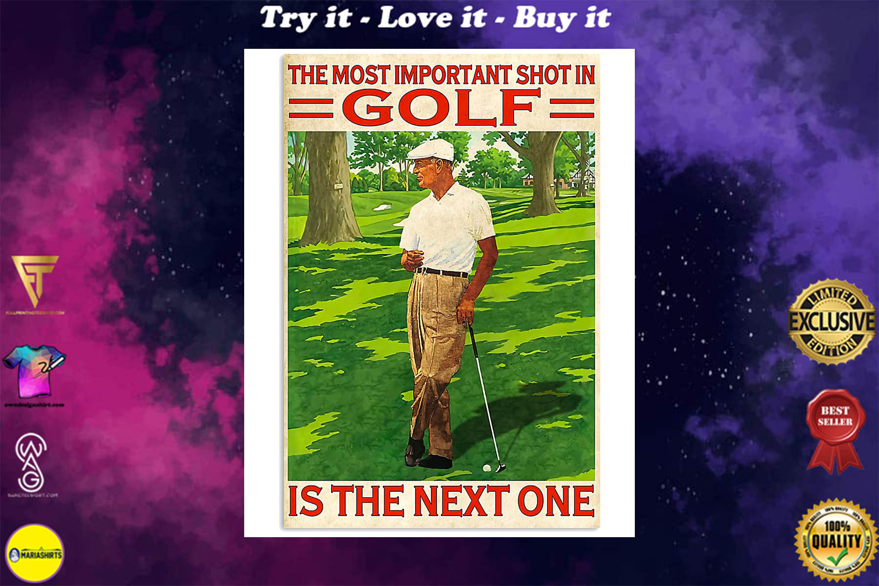the most important shot in golf is the next one retro poster