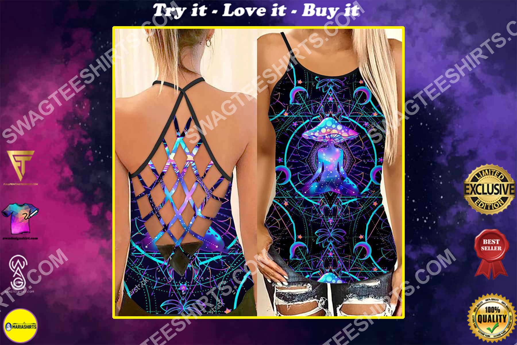 the mushroom yoga hippie all over printed strappy back tank top