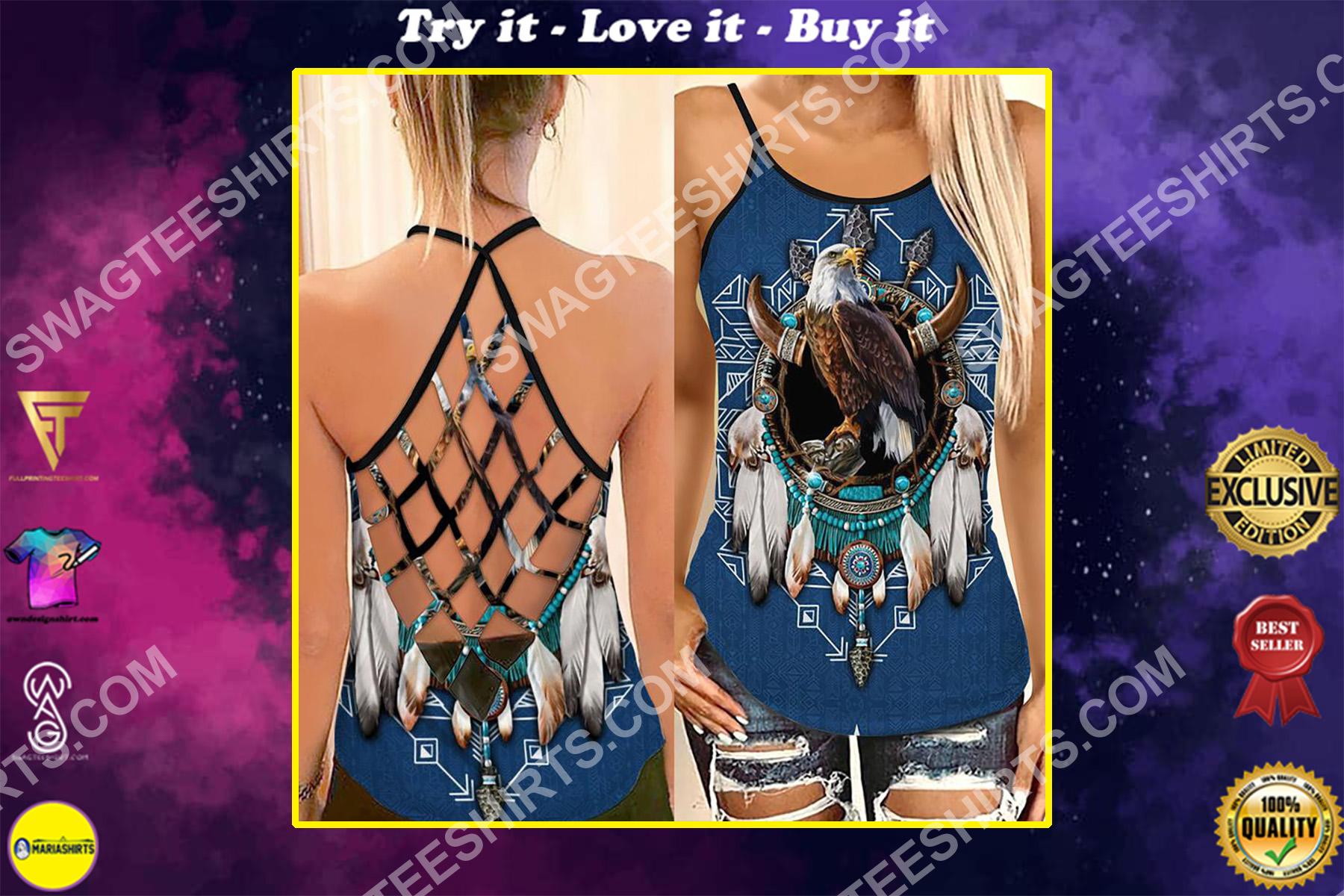 the native americans and eagle strappy back tank top
