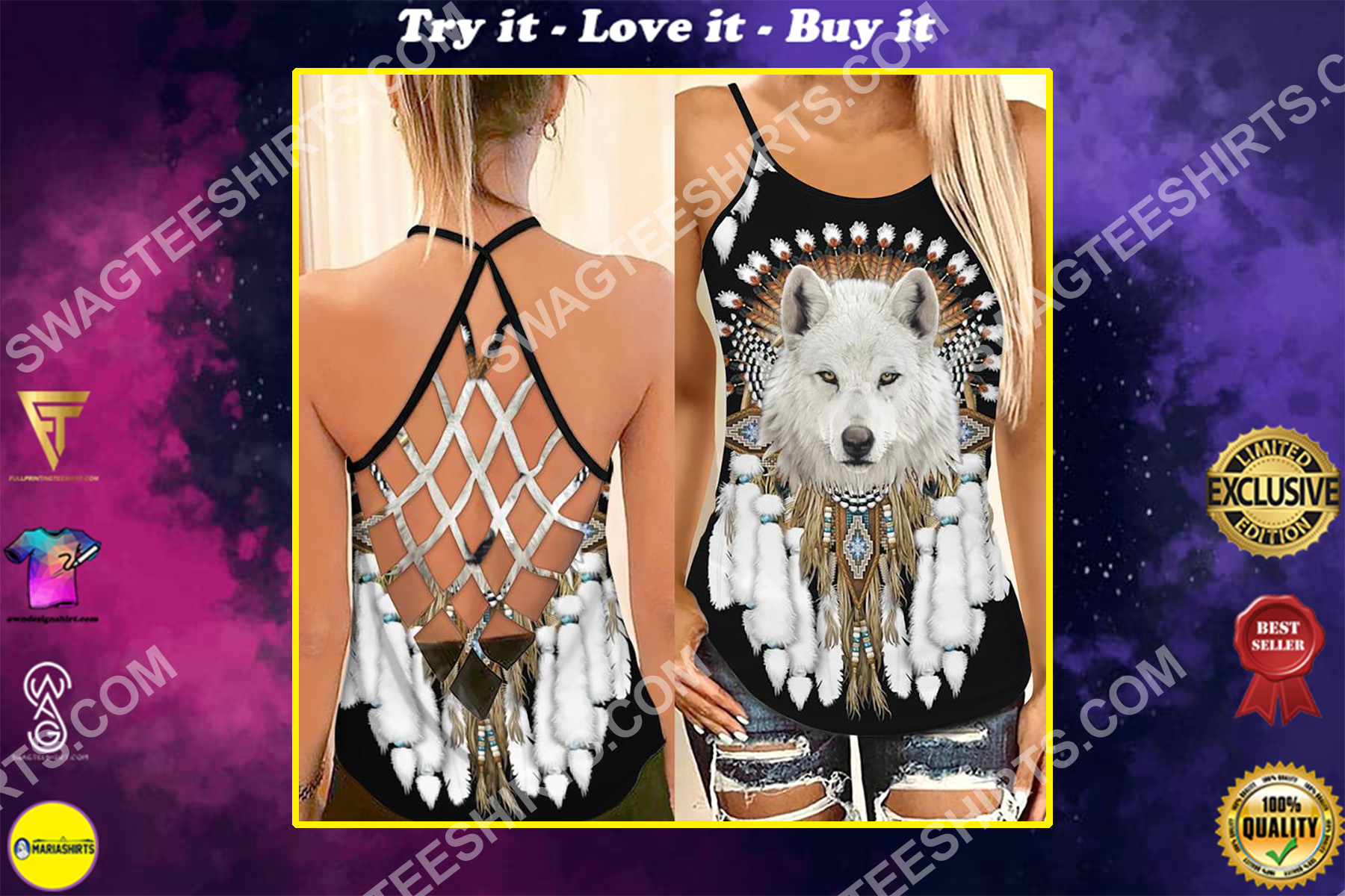 the native americans chief wolf strappy back tank top