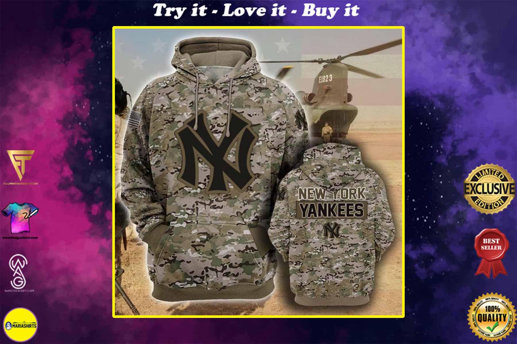 the new york yankees camouflage veteran full over printed shirt