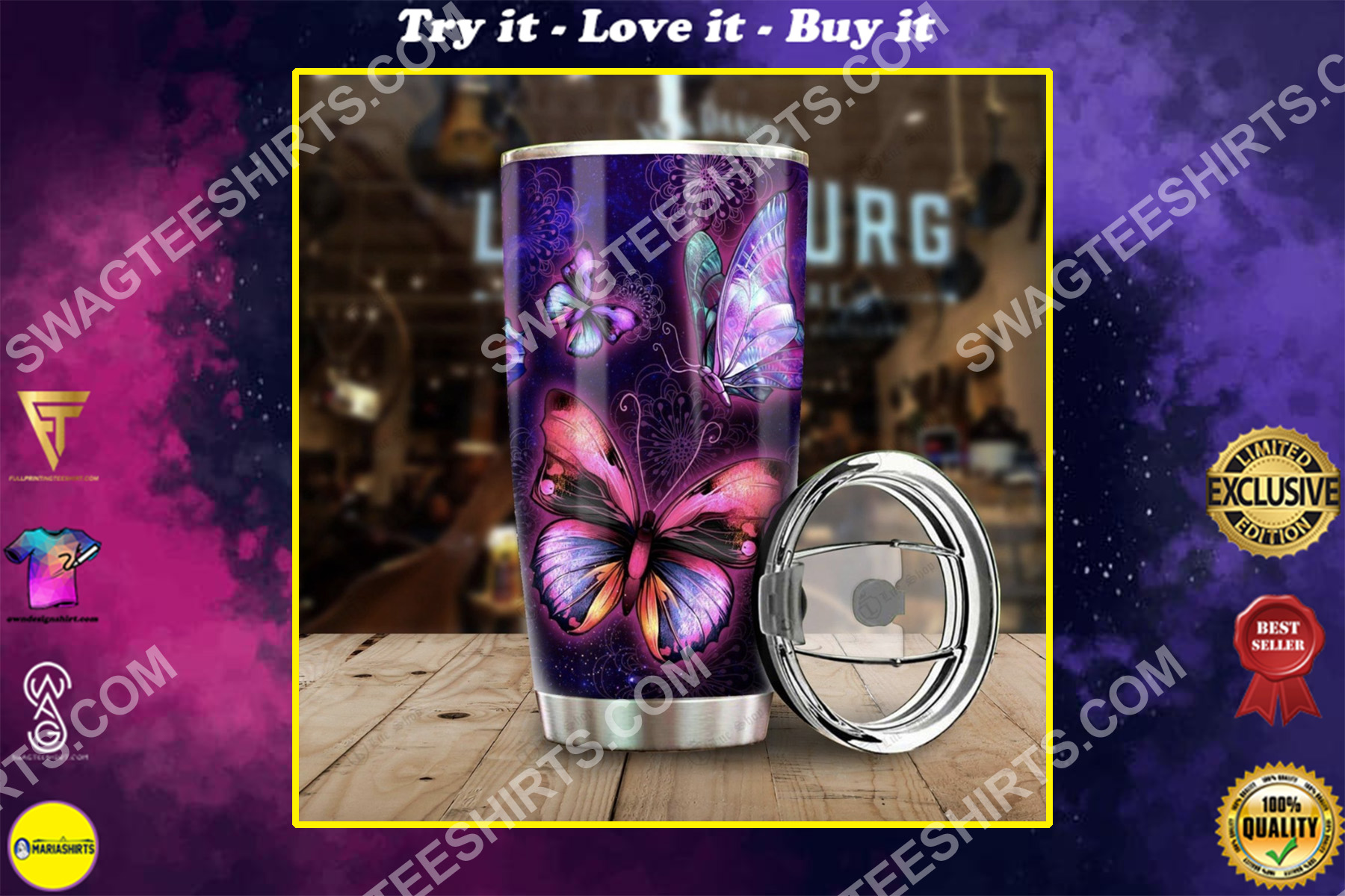 the night butterfly all over printed stainless steel tumbler