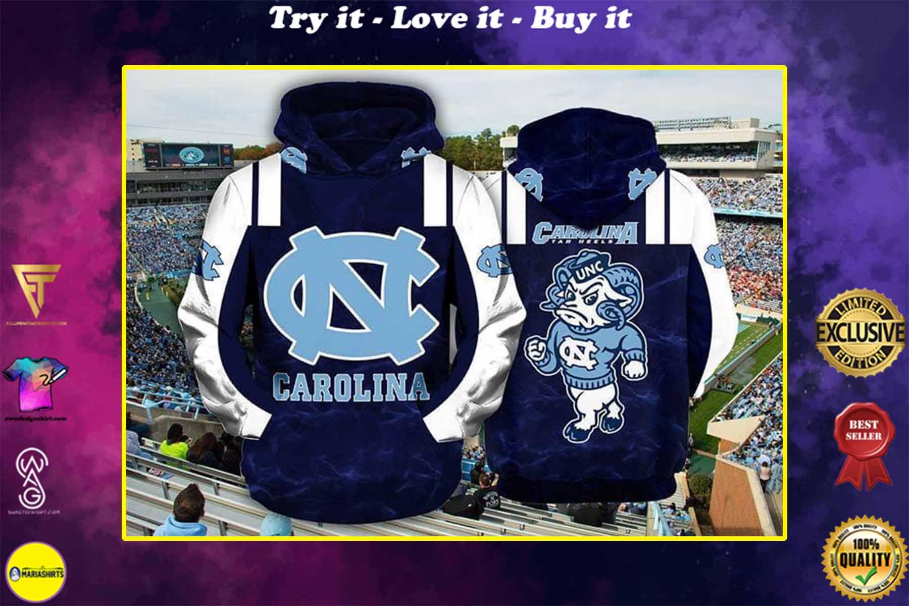the north carolina tar heels football team full over printed shirt