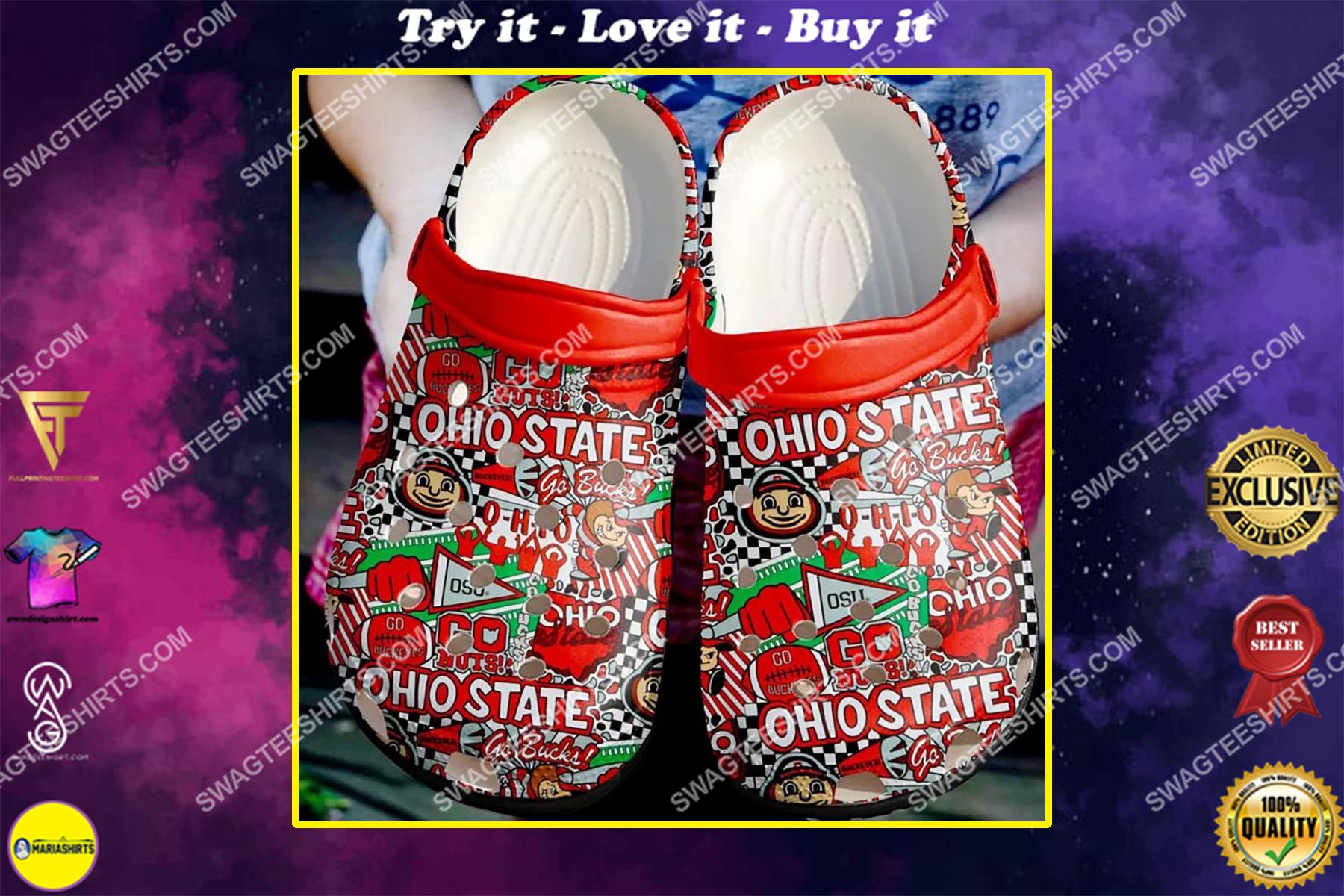 the ohio state buckeyes football all over printed crocs crocband clog