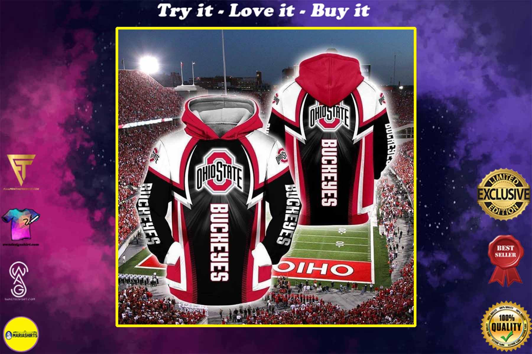 the ohio state buckeyes football team full over printed shirt