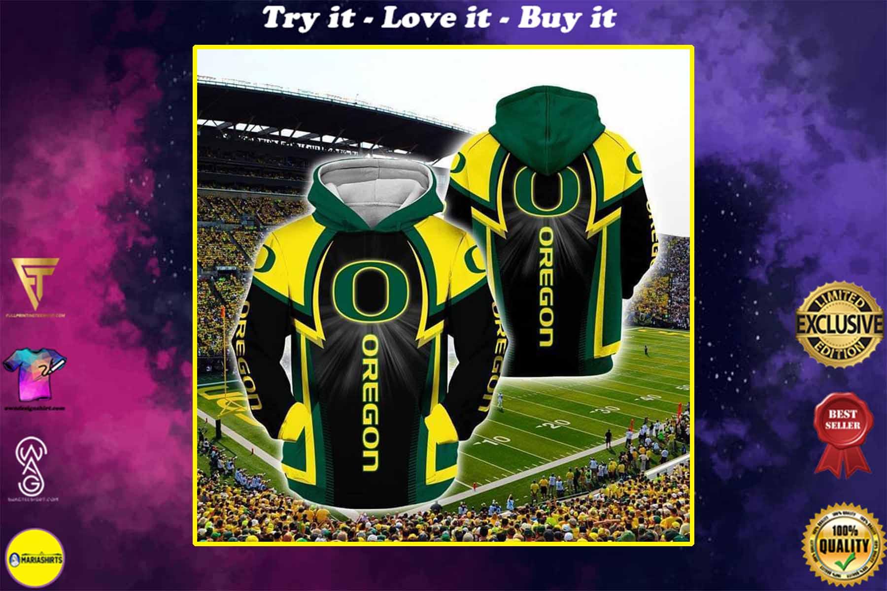 the oregon ducks football full over printed shirt