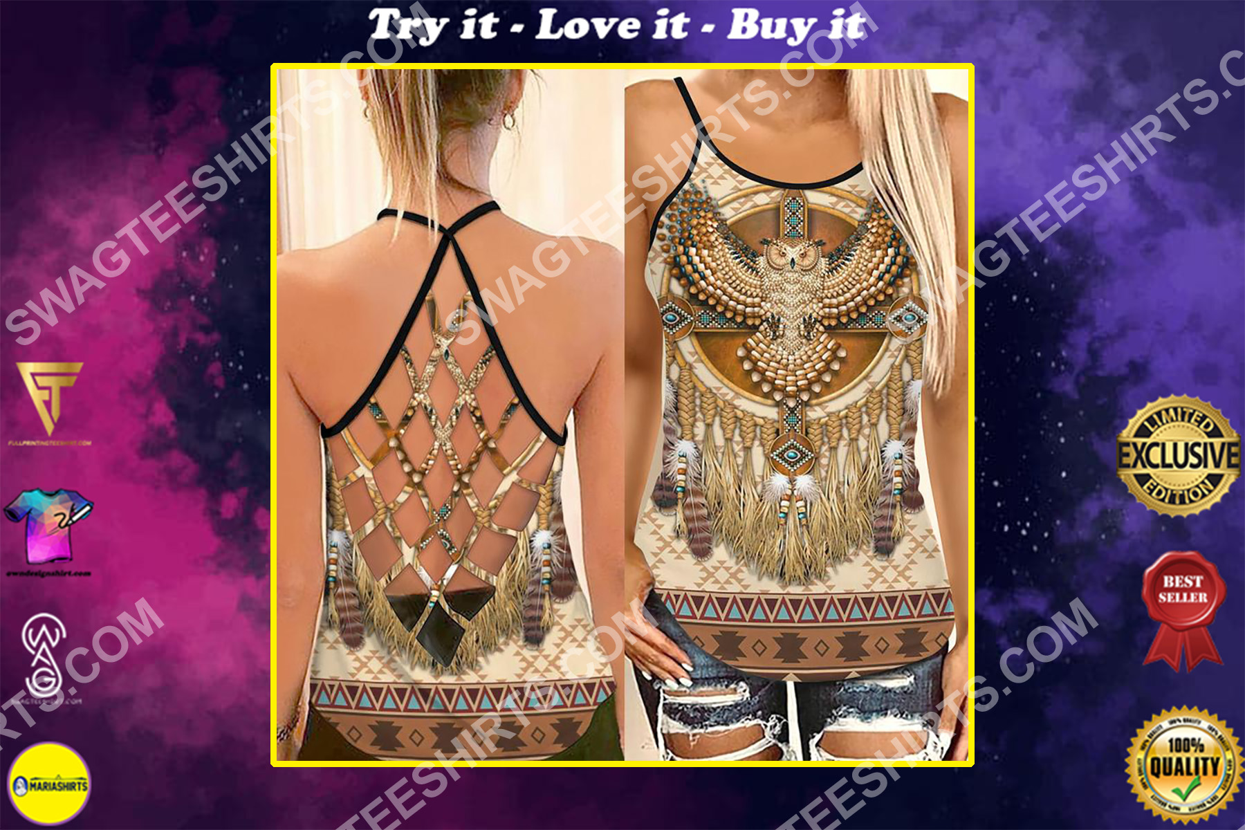 the owl and native americans symbols strappy back tank top