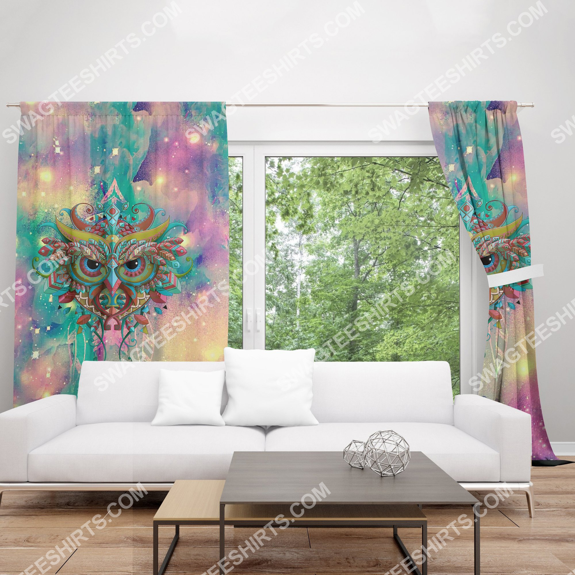 the owl galaxy all over printed window curtains 2(1)the owl galaxy all over printed window curtains 2(1)
