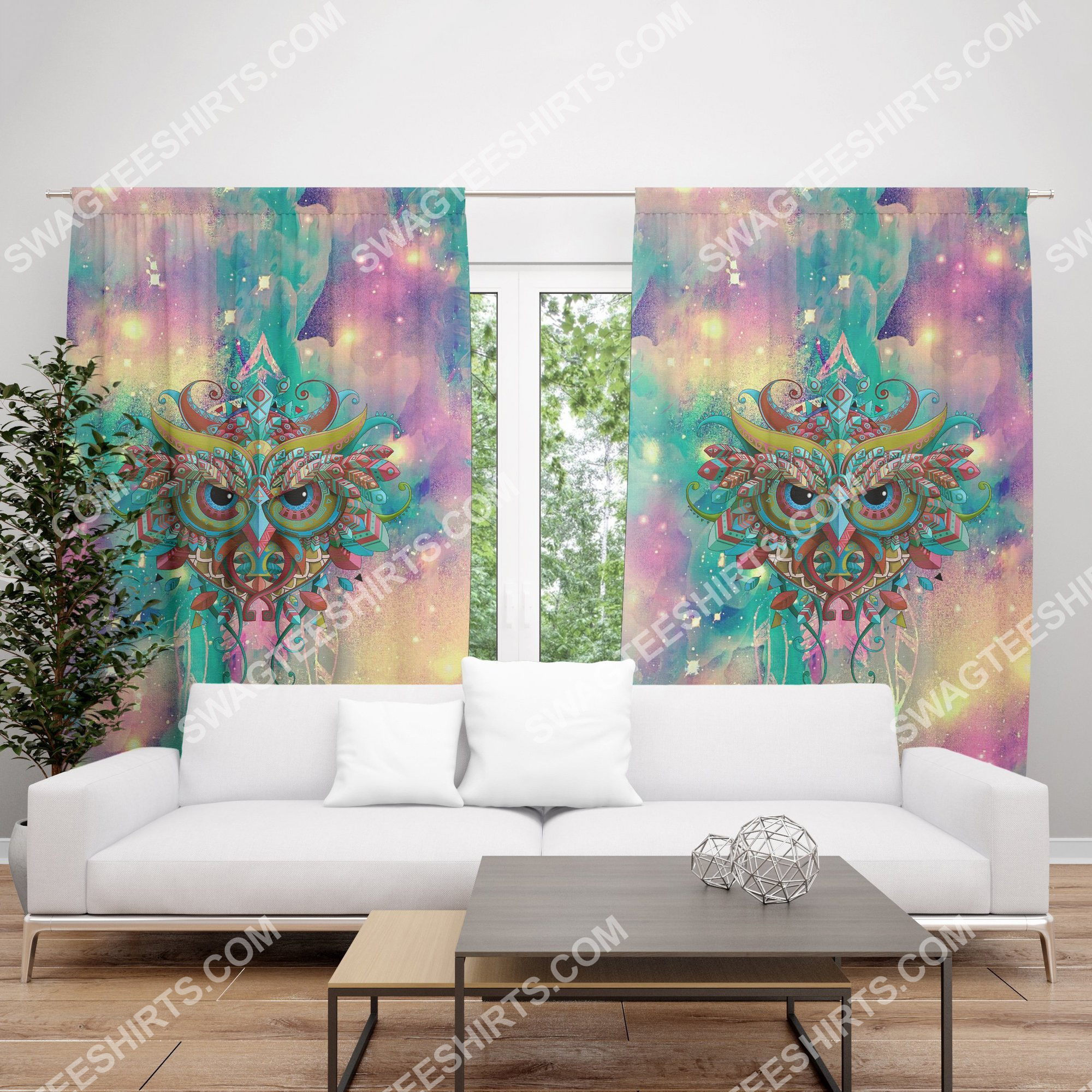 the owl galaxy all over printed window curtains 3(1)