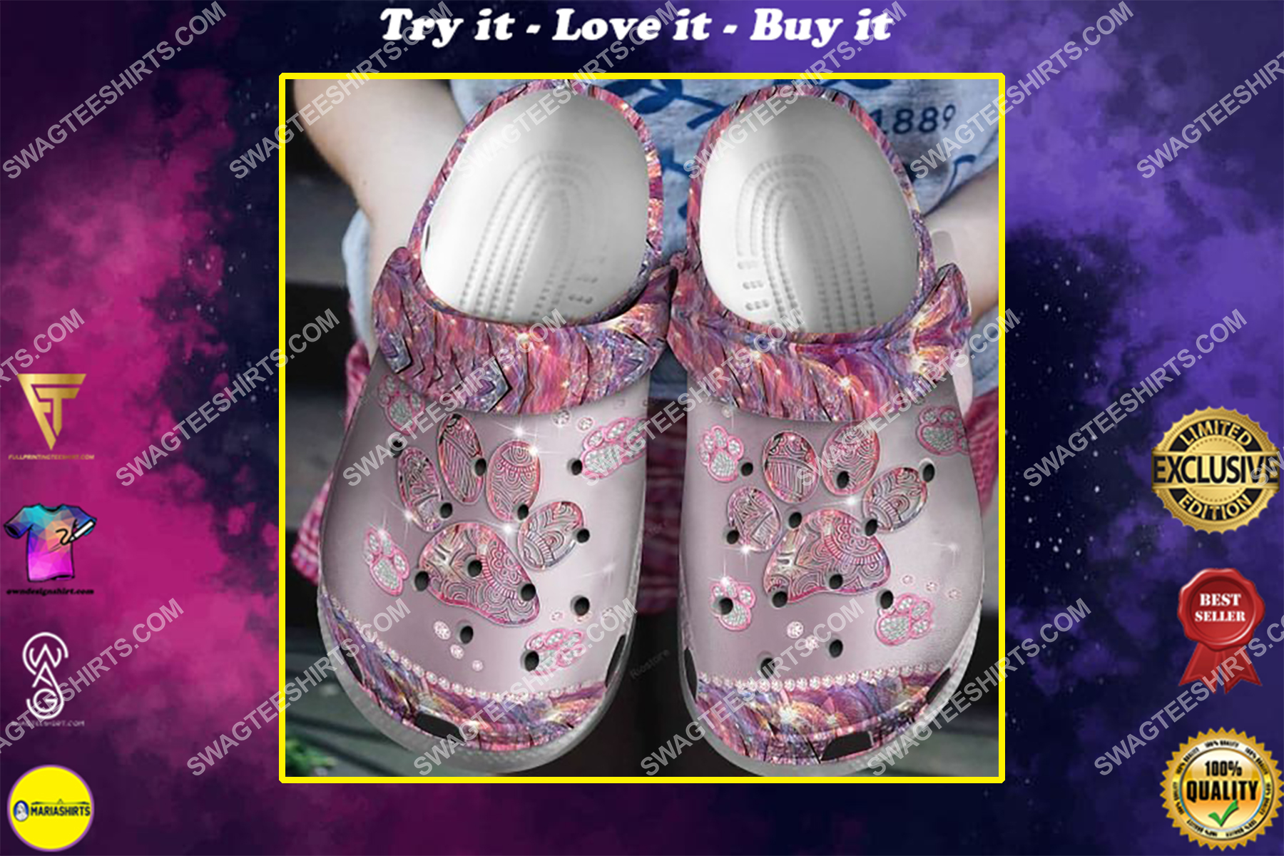 the paws glitter all over printed crocs crocband clog