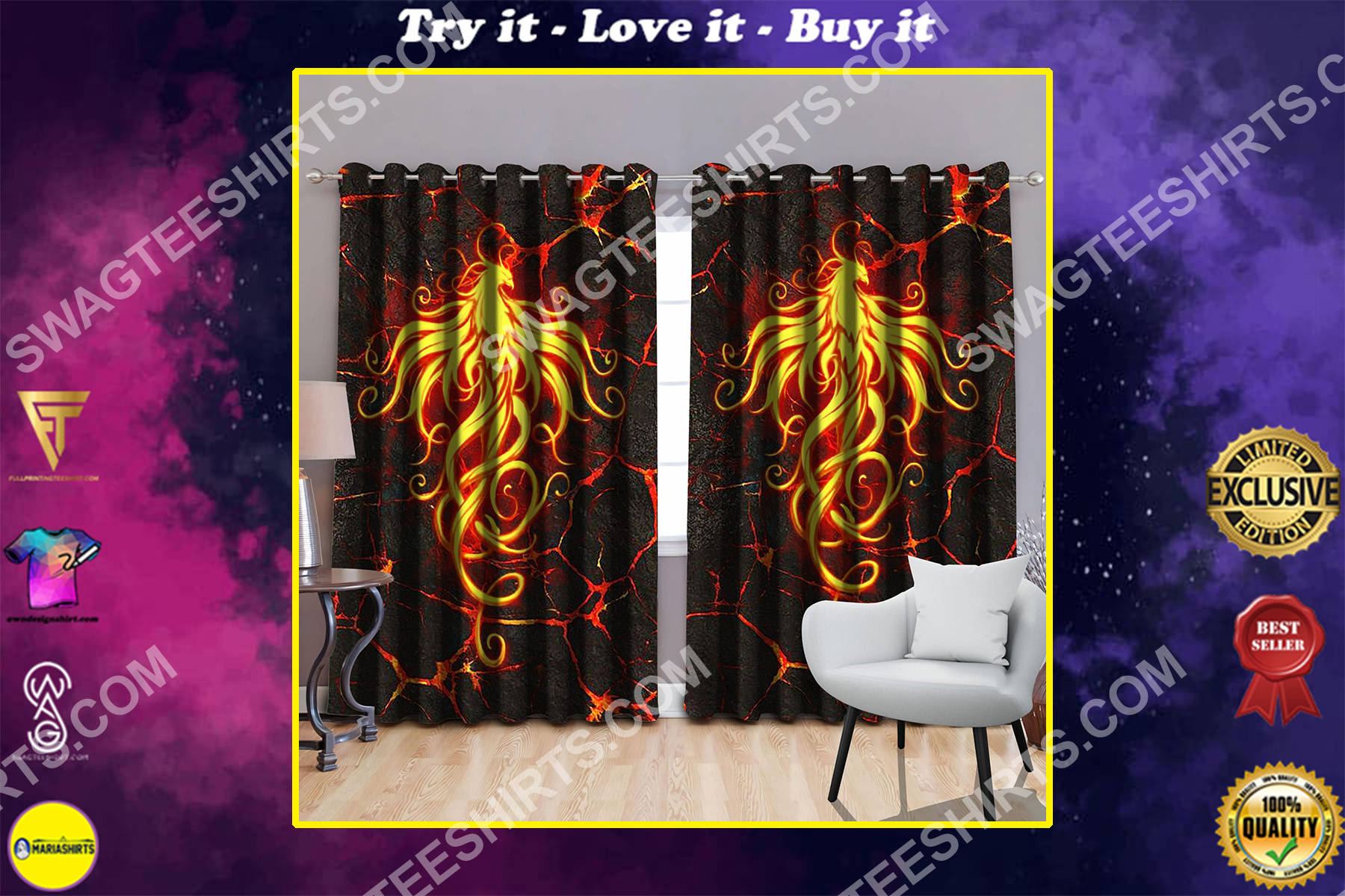 the phoenix with fire all over printed window curtains