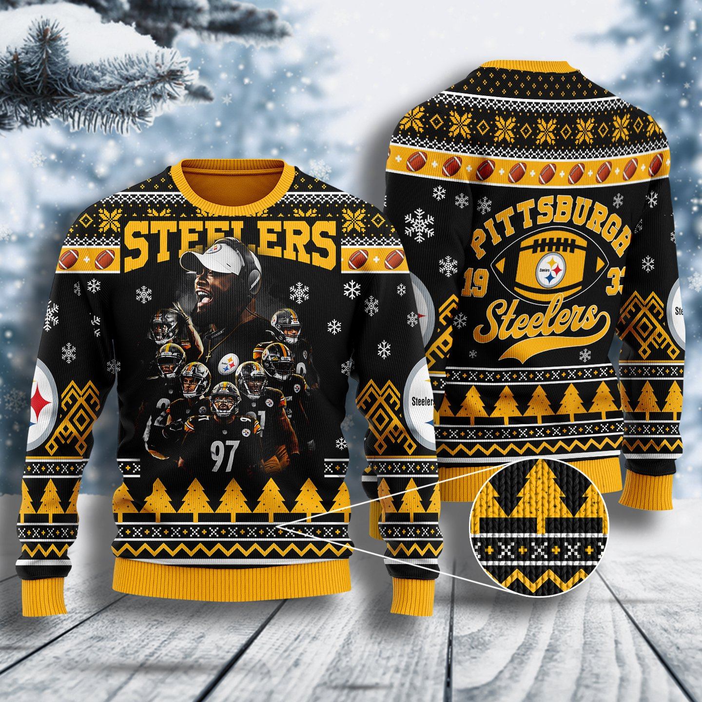 the pittsburgh steelers all over printed ugly christmas sweater 2
