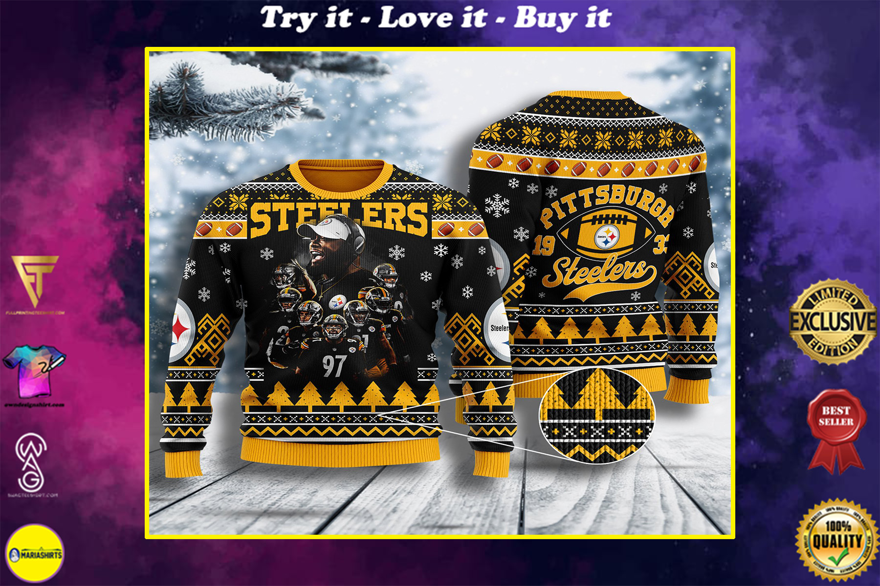the pittsburgh steelers all over printed ugly christmas sweater