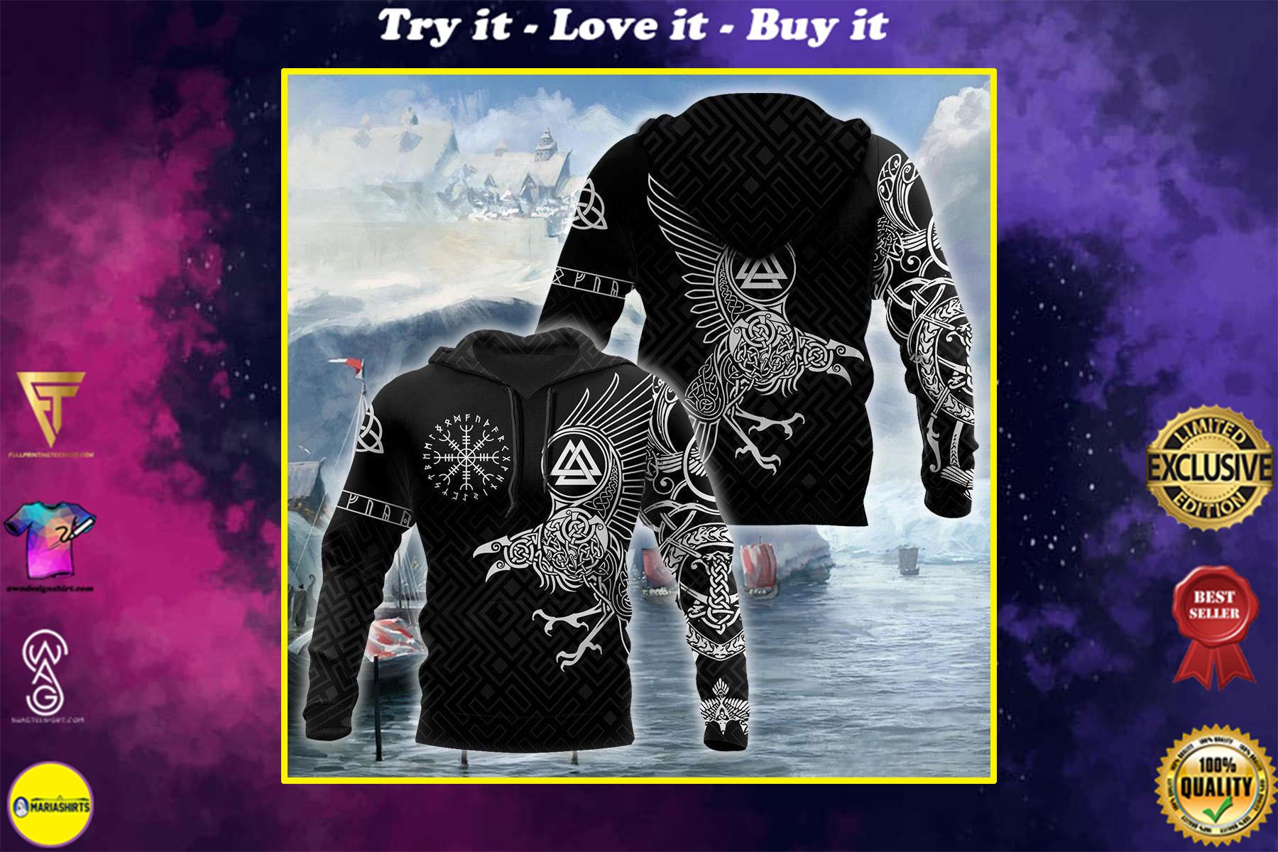 the ravens on vikings full printing shirt