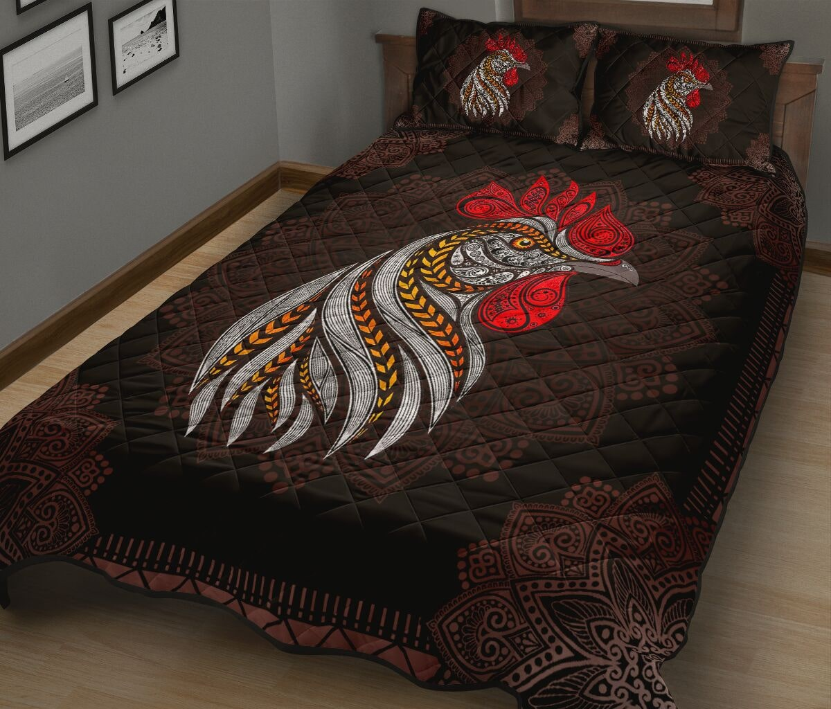 the rooster vintage full over print quilt 2