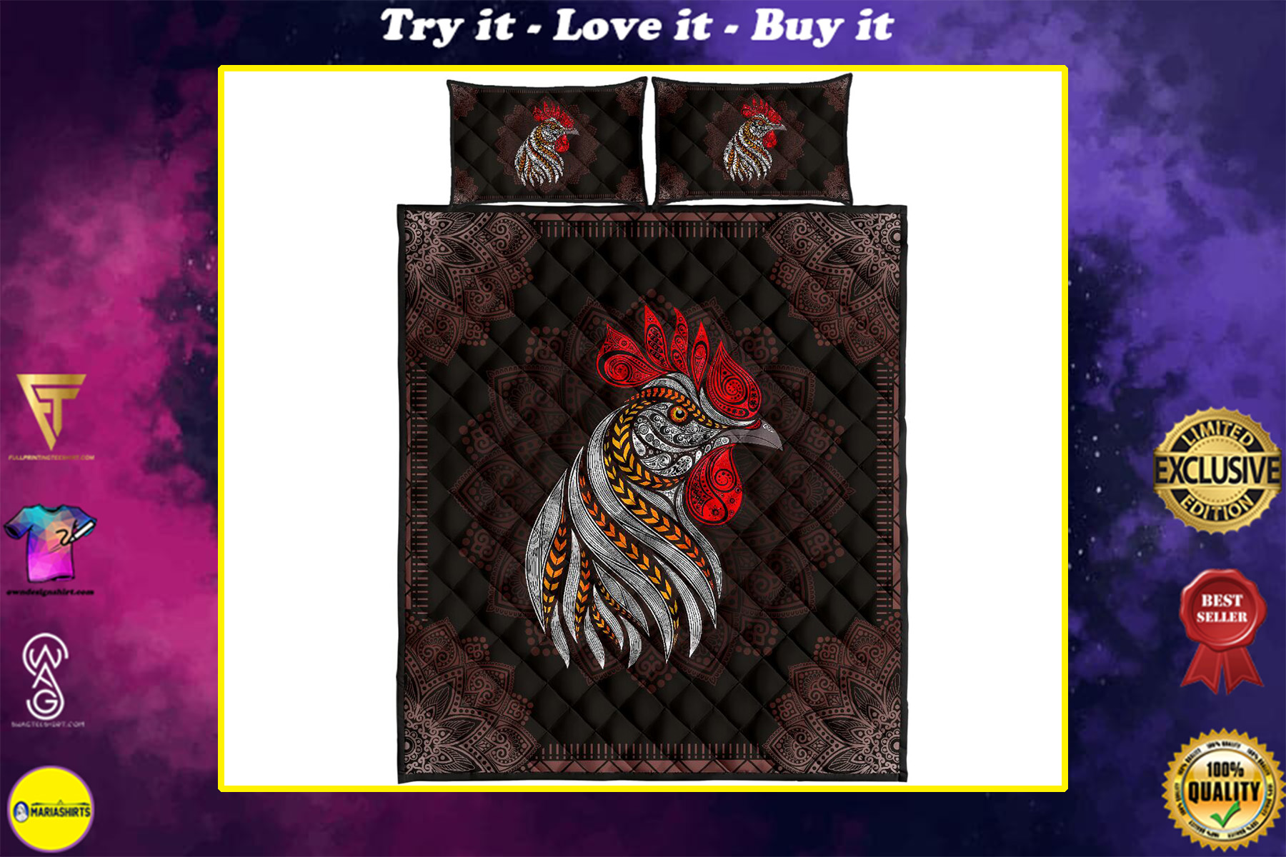the rooster vintage full over print quilt