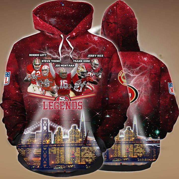 the san francisco 49ers legends members signatures full over printed hoodie