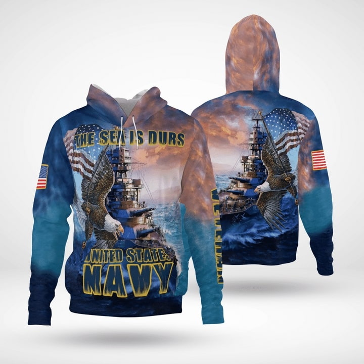 the sea is durs united states navy full printing hoodie