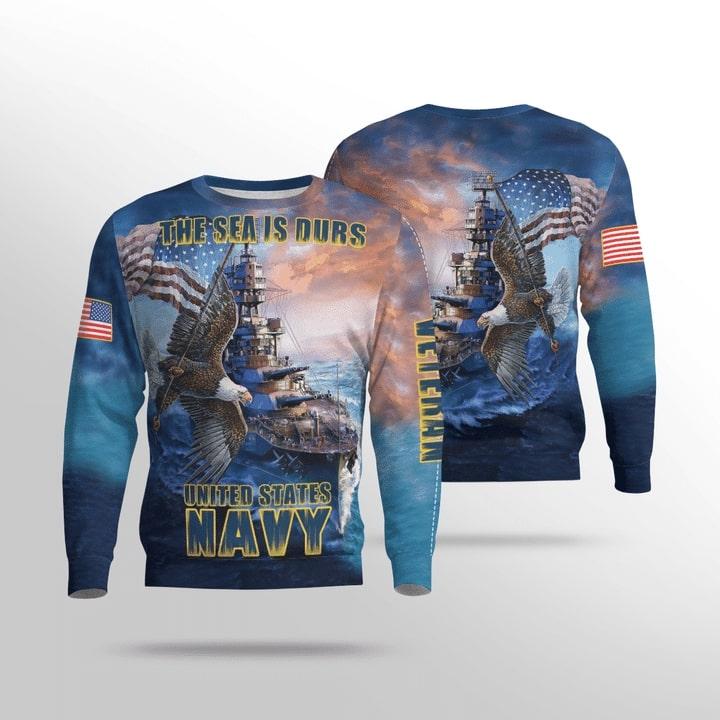the sea is durs united states navy full printing sweatshirt