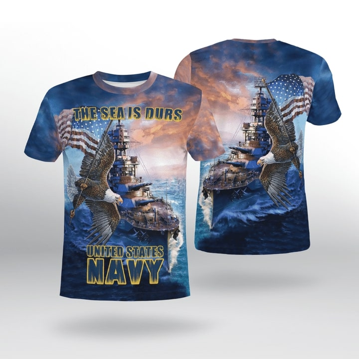 the sea is durs united states navy full printing tshirt