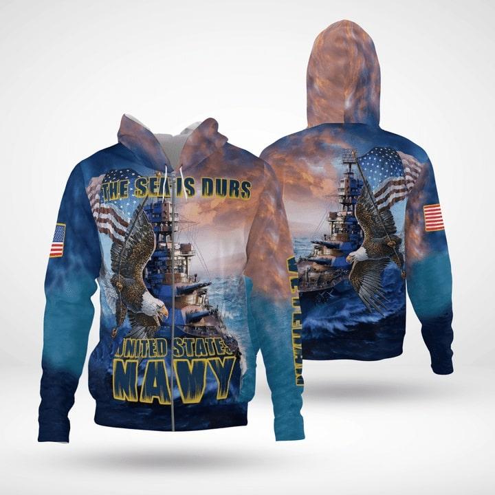 the sea is durs united states navy full printing zip hoodie