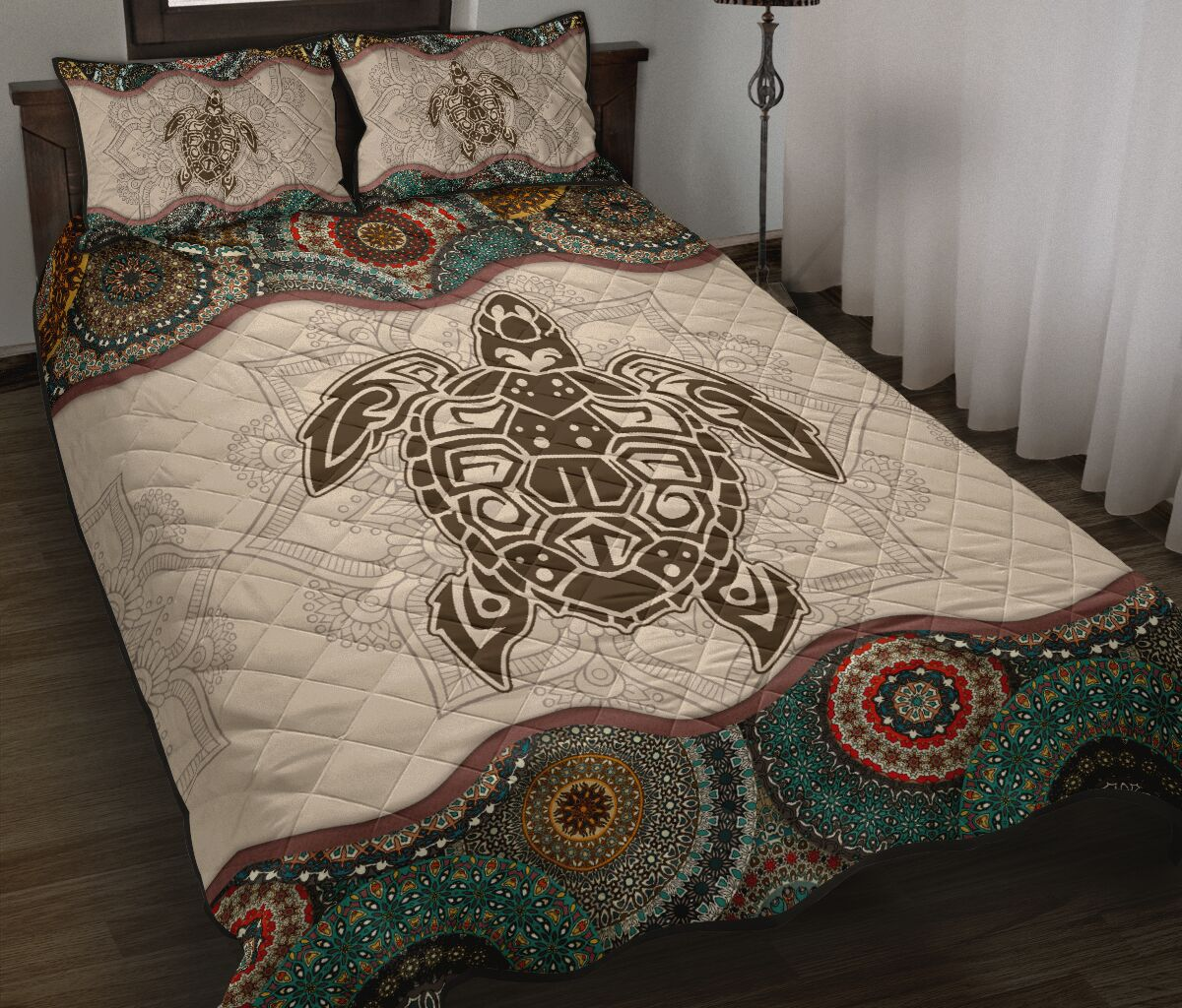 the sea turtle vintage version full over print quilt 2