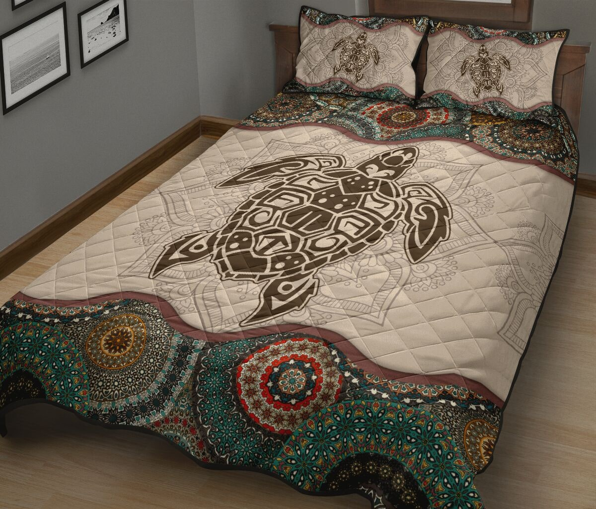 the sea turtle vintage version full over print quilt 3