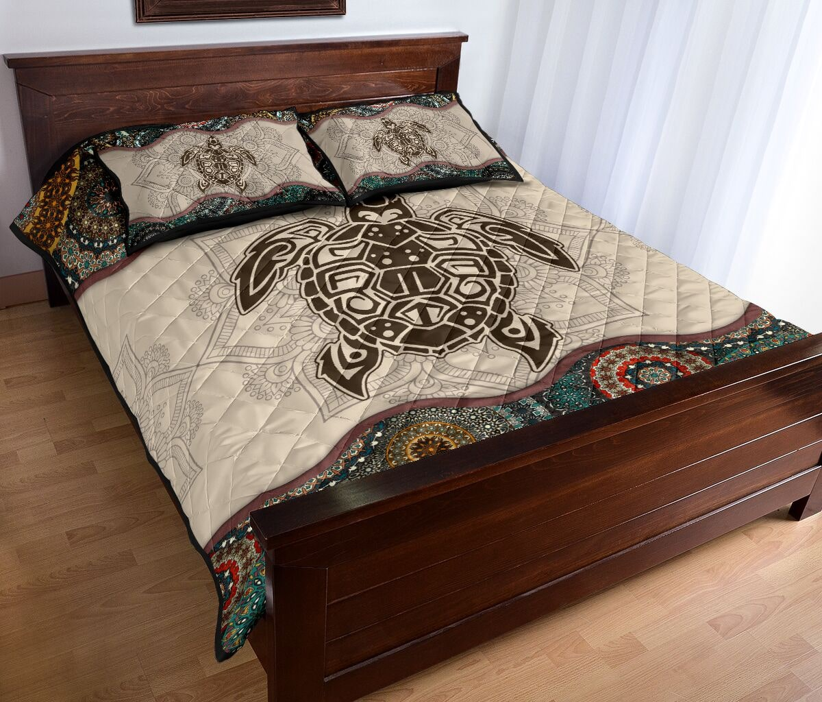 the sea turtle vintage version full over print quilt 4