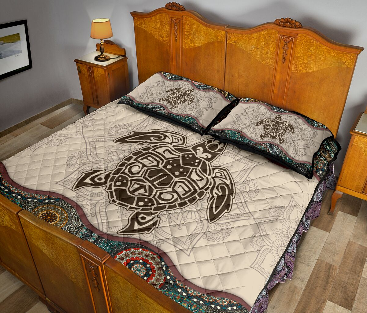 the sea turtle vintage version full over print quilt 5