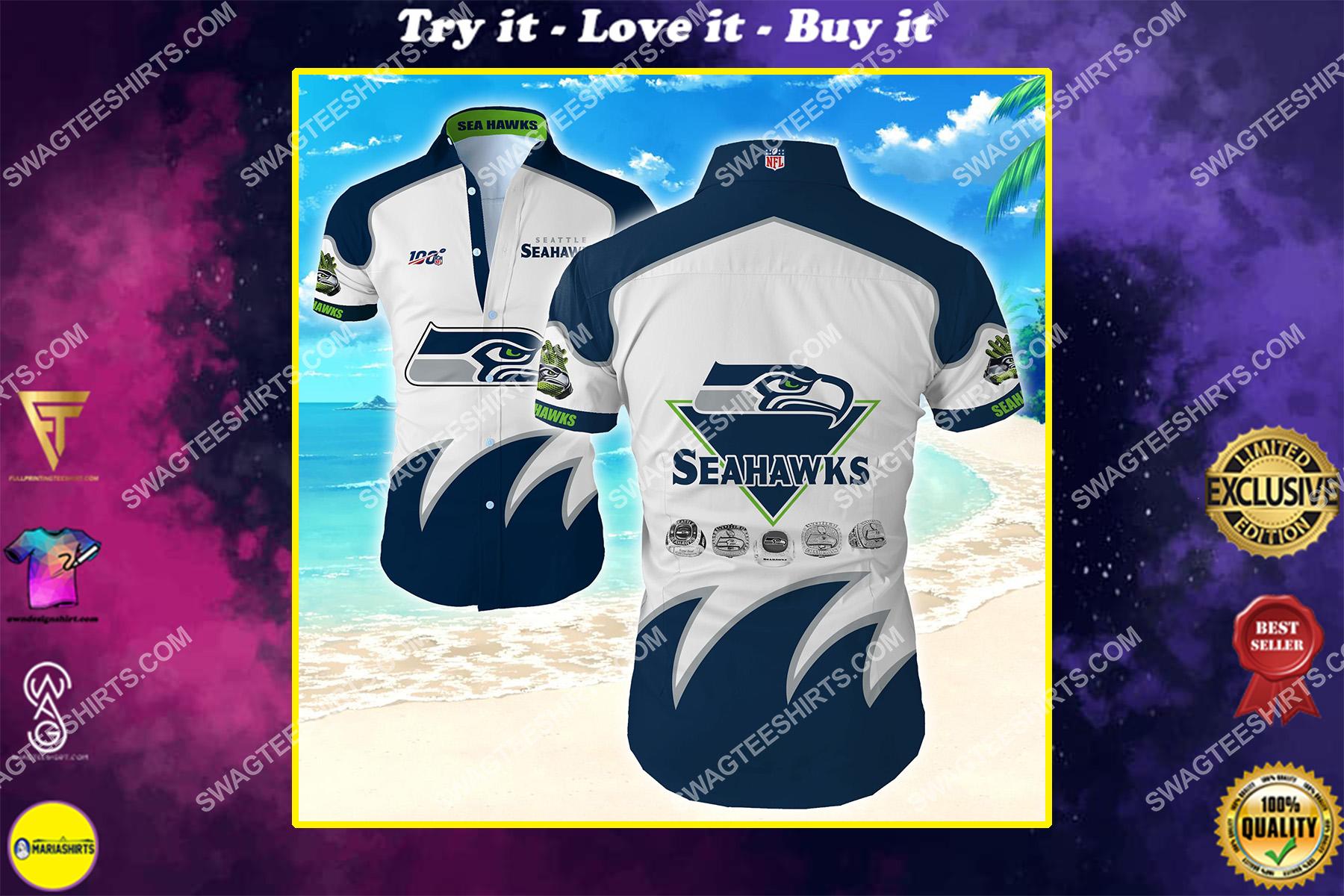 the seattle seahawks football team hawaiian shirt