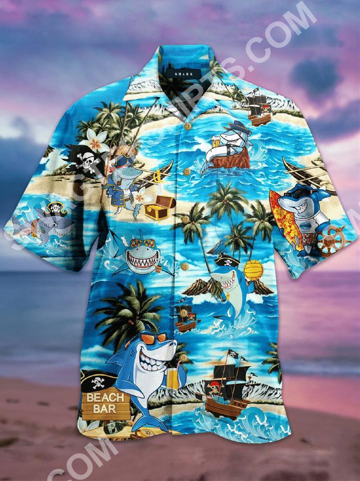 the shark and pirates all over printed hawaiian shirt 2(1)