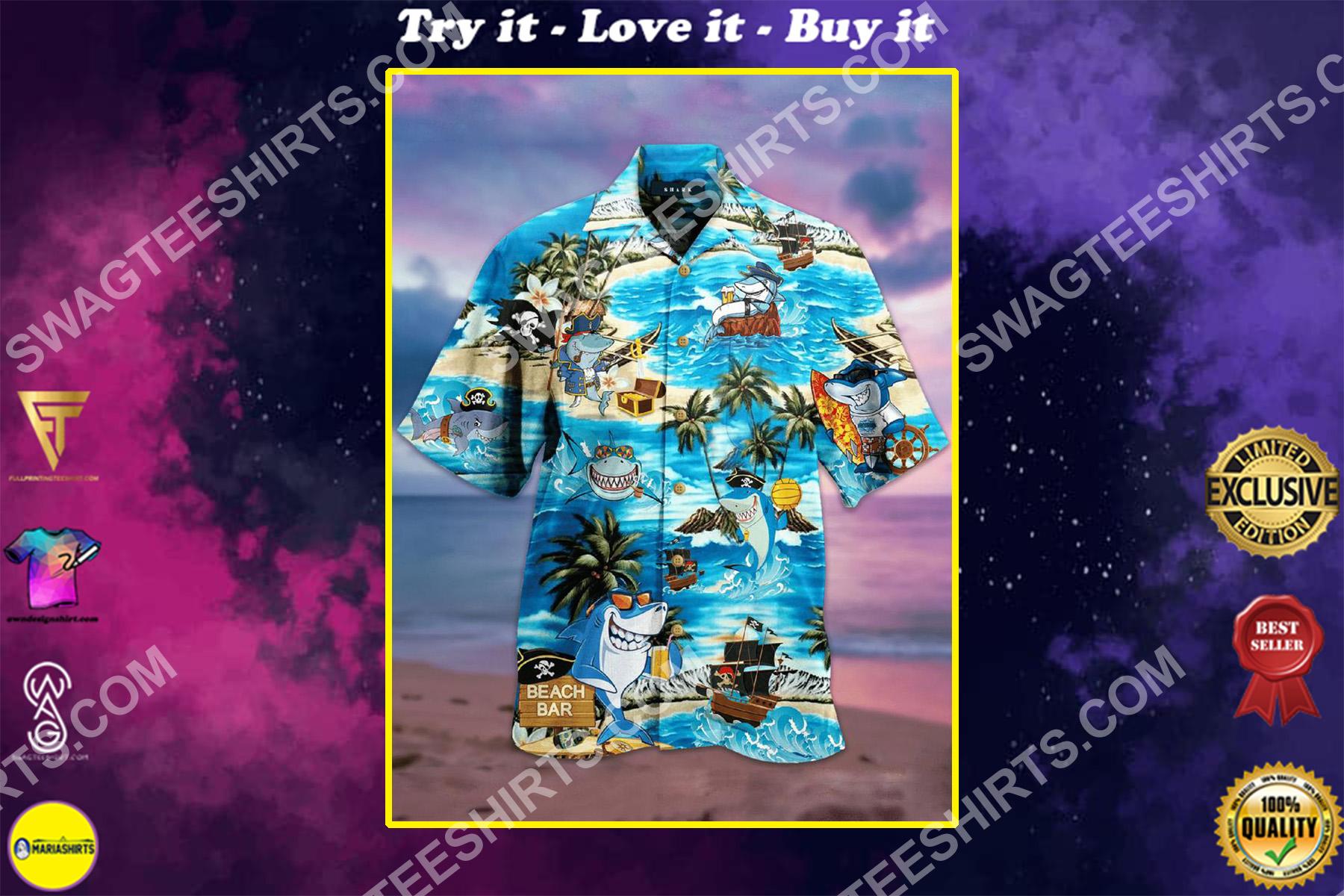 the shark and pirates all over printed hawaiian shirt