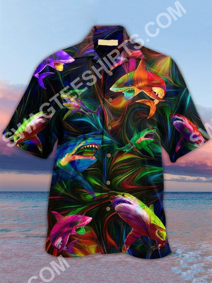 the shark colorful all over printed hawaiian shirt 2(1)