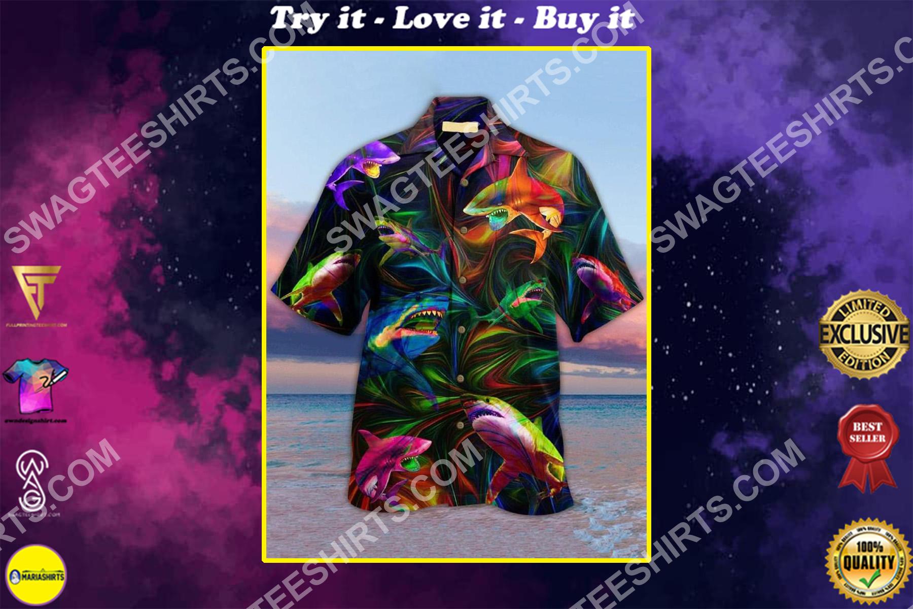 the shark colorful all over printed hawaiian shirt