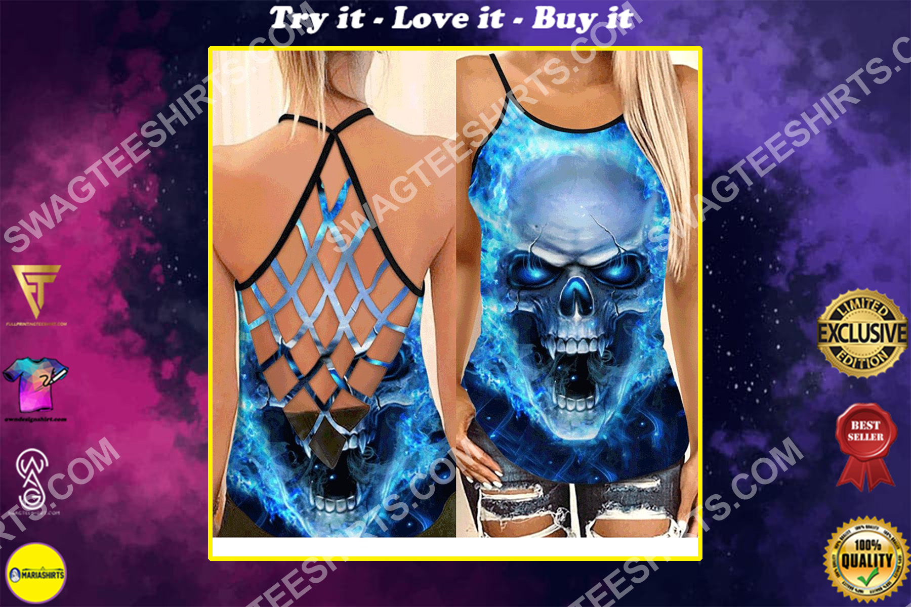 the skull and blue fire all over printed strappy back tank top
