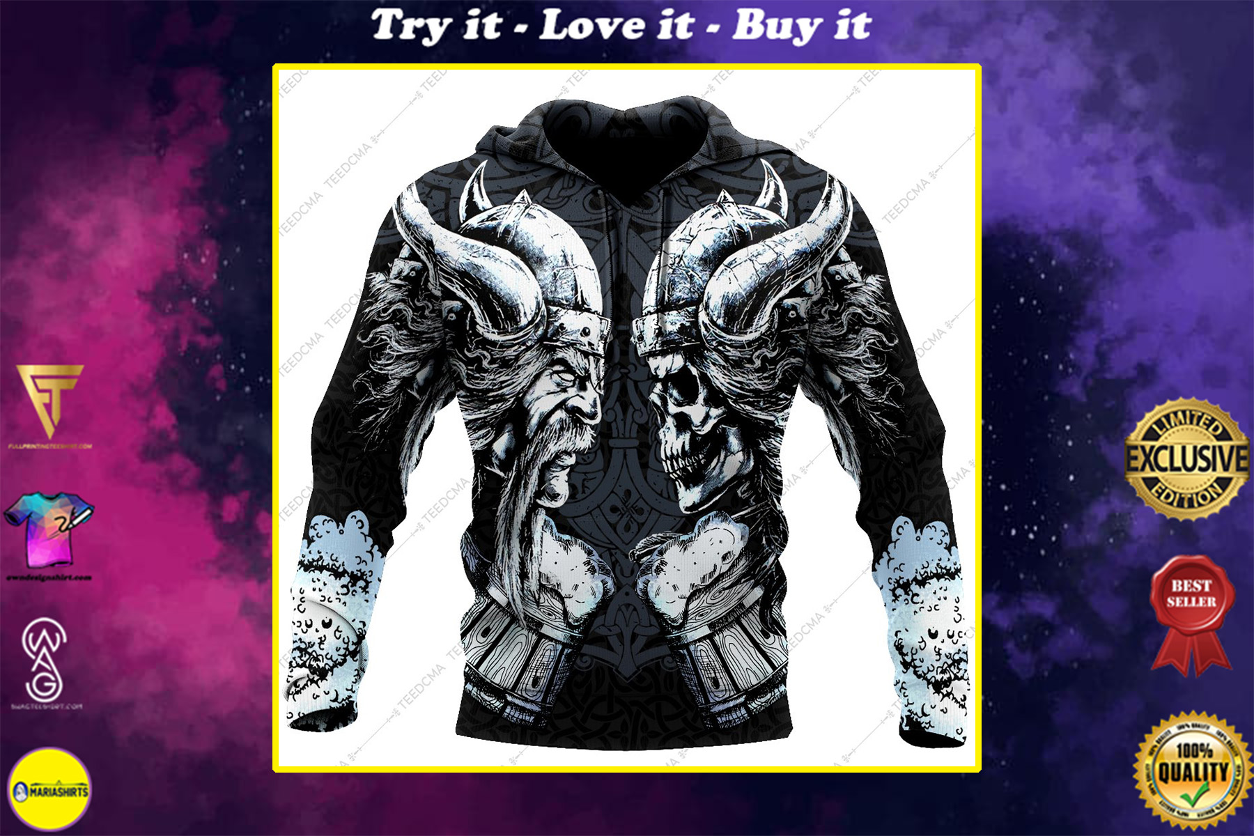 the skull and warrior viking all over printed shirt