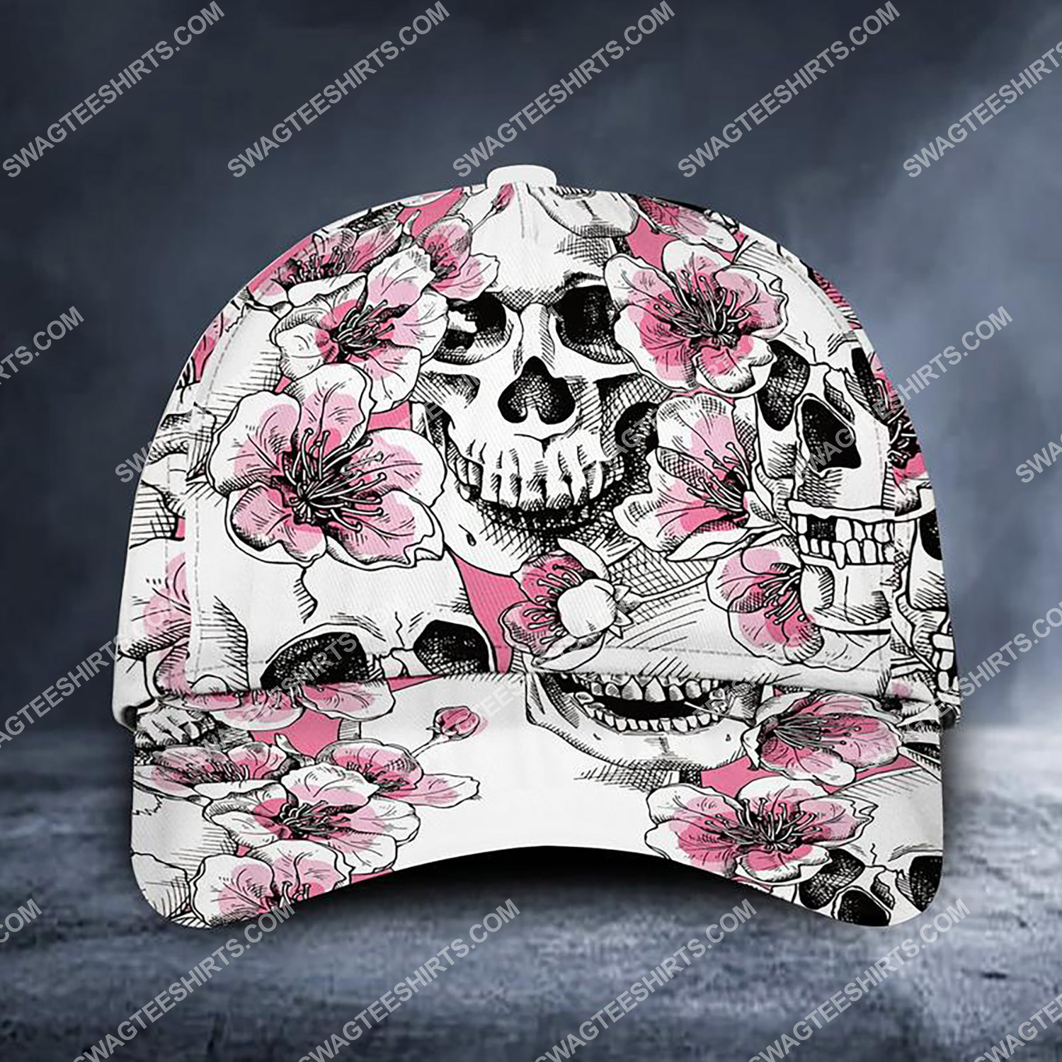 the skull floral all over printed classic cap 3 - Copy (2)