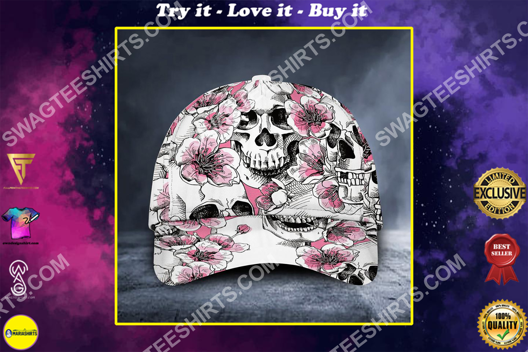 the skull floral all over printed classic cap