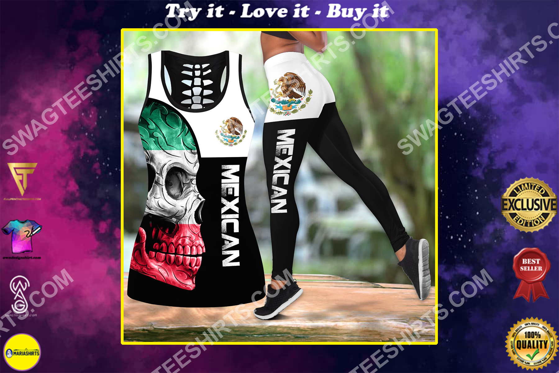 the skull mexican flag all over printed set sports outfit