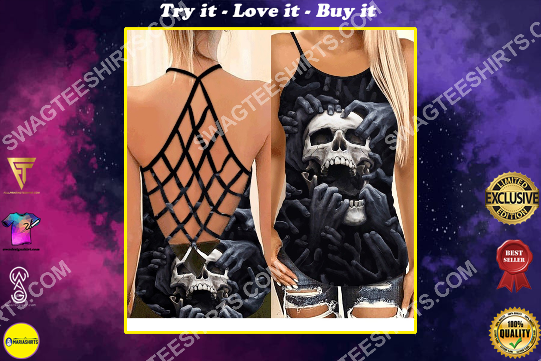 the skull screaming all over printed strappy back tank top