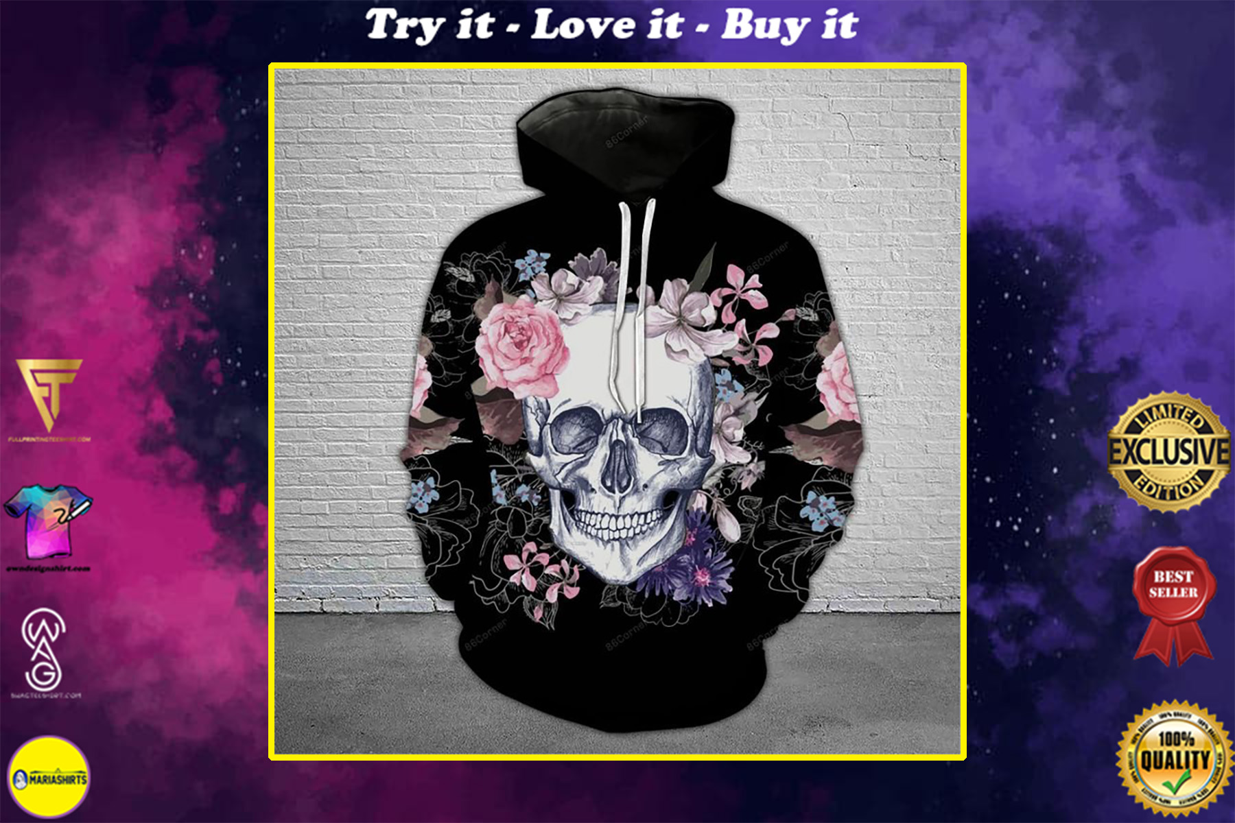 the skull with floral all over printed shirt