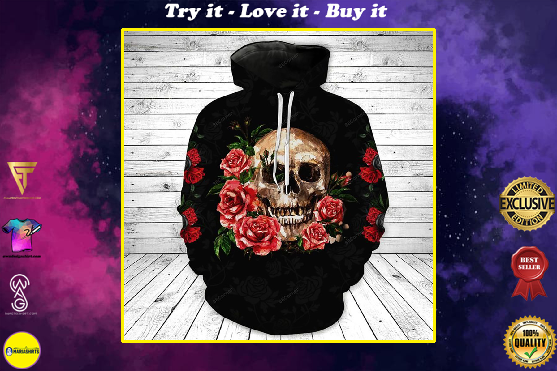the skull with rose flower all over printed shirt