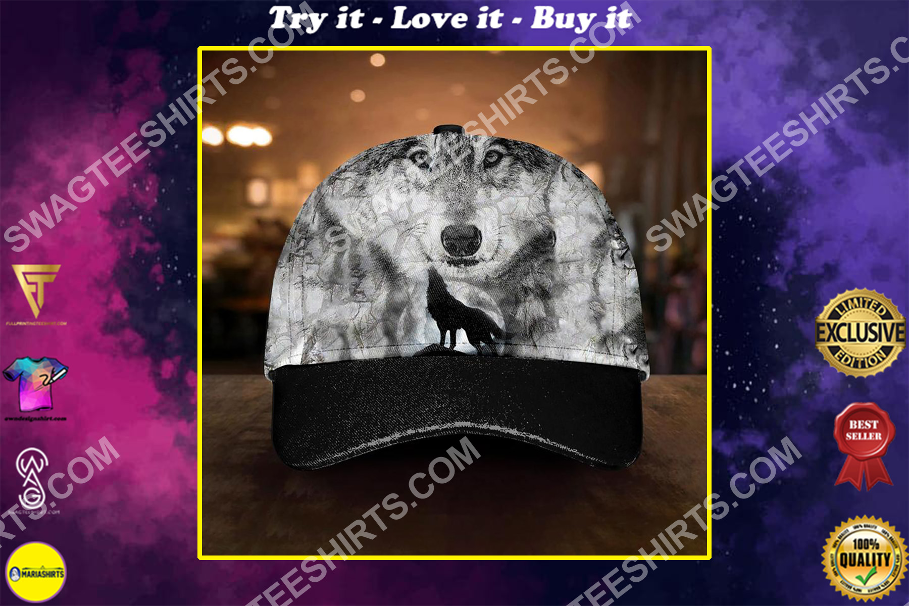 the soul of a wolf all over printed classic cap