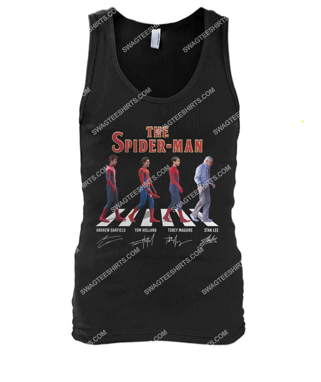 the spider man walking abbey road tank top 1