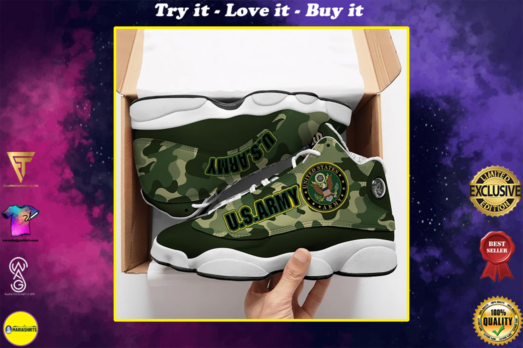 the united states army camo all over printed air jordan 13 sneakers