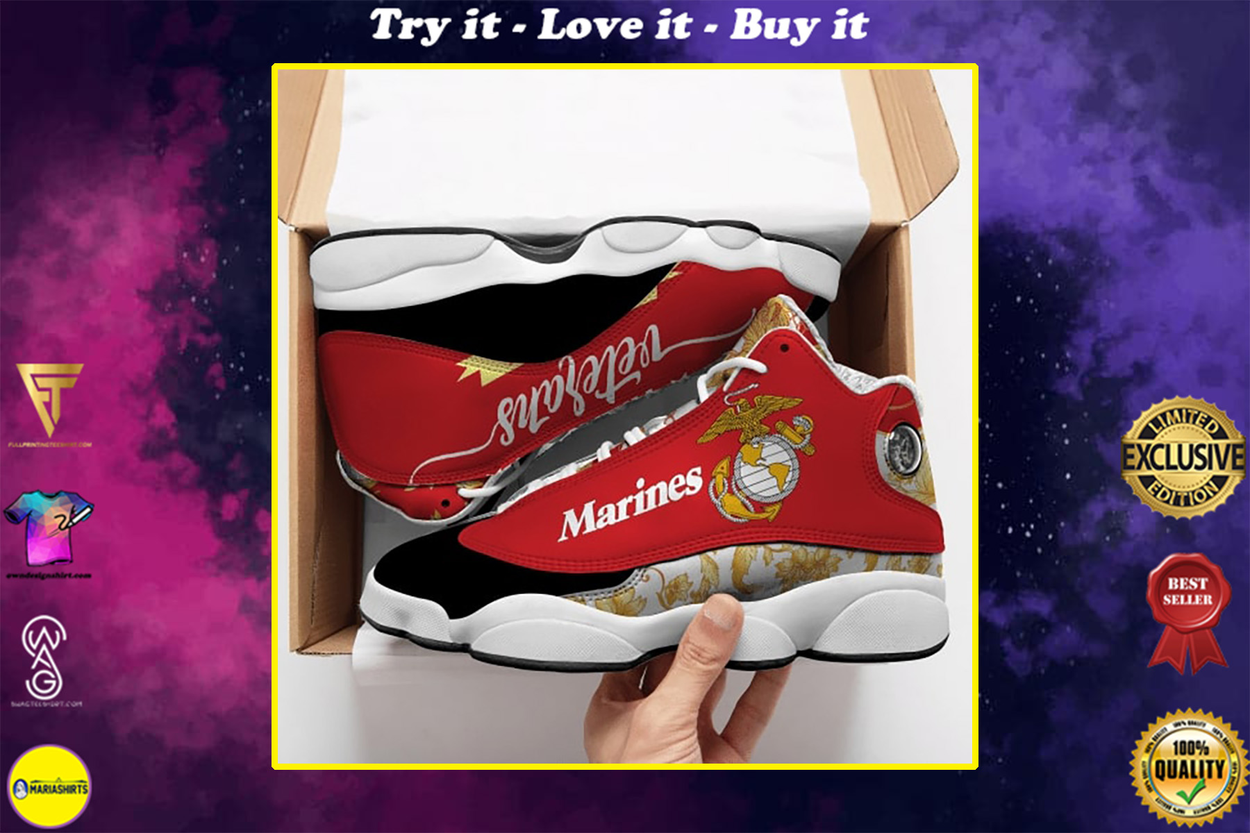 the united states marine corps all over printed air jordan 13 sneakers