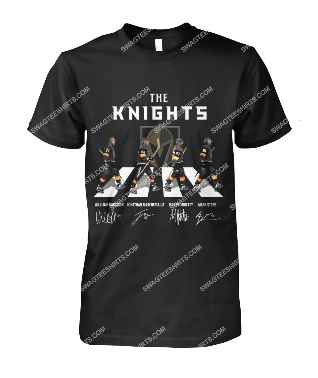 the vegas golden knights walking abbey road tshirt 1